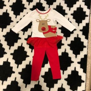 🎄2T Beautiful girls Gigli reindeer 2pc outfit